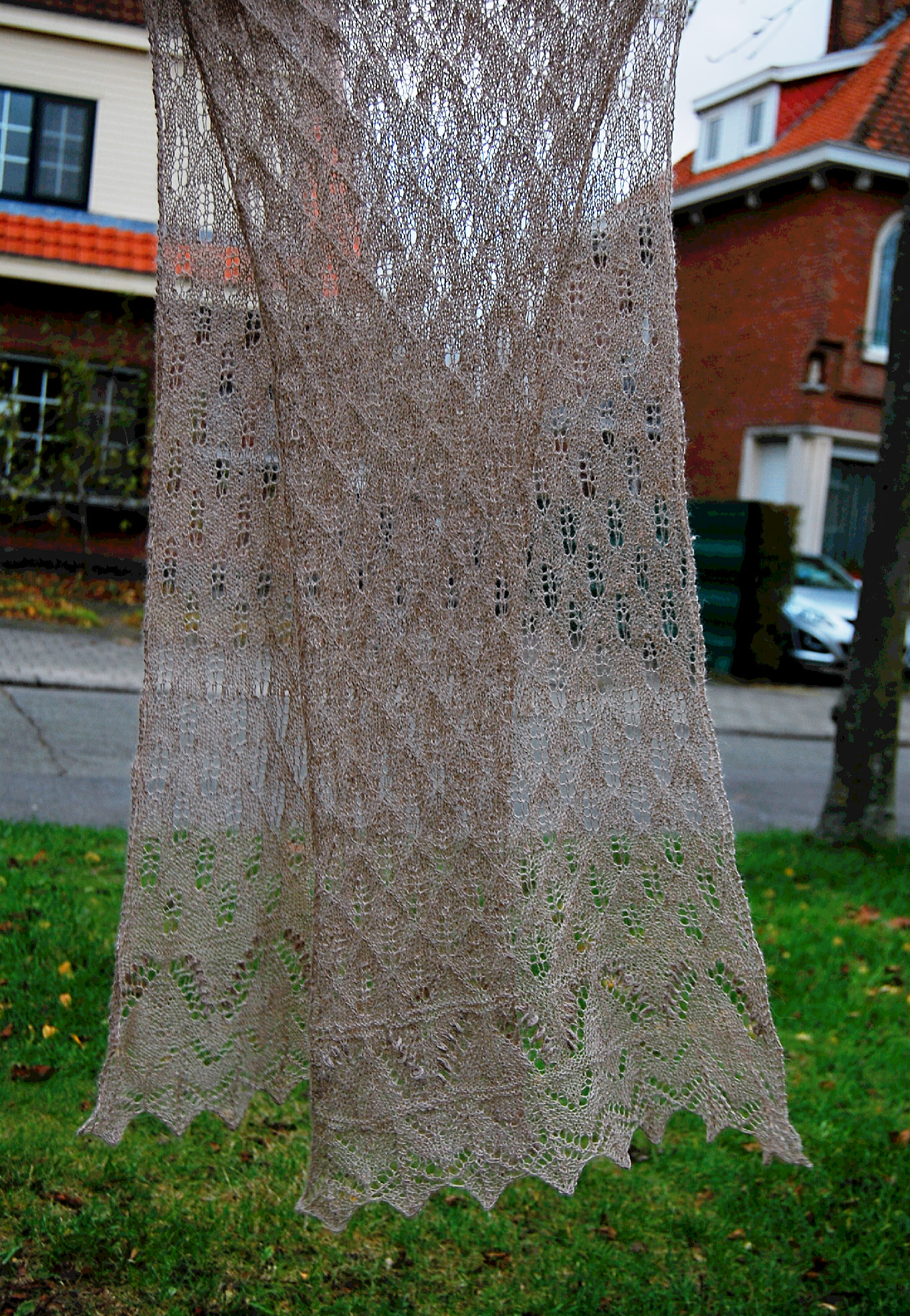 Lace scarf after blocking
