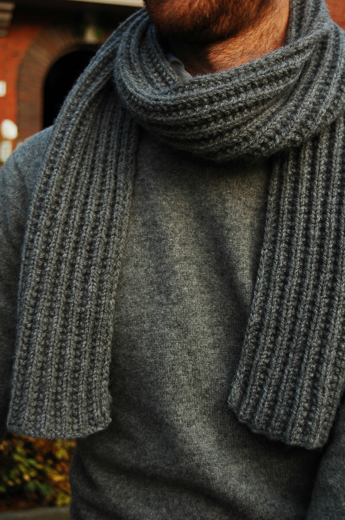 Seeded rib stitch scarf for him